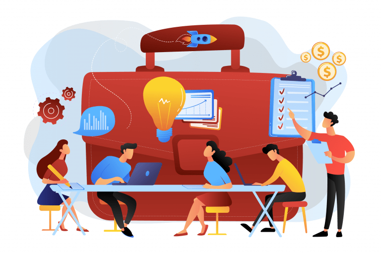 colleagues meeting illustration